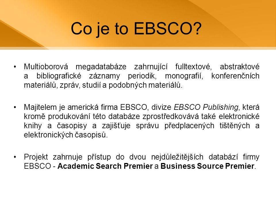Co obsahuje databáze EBSCO.