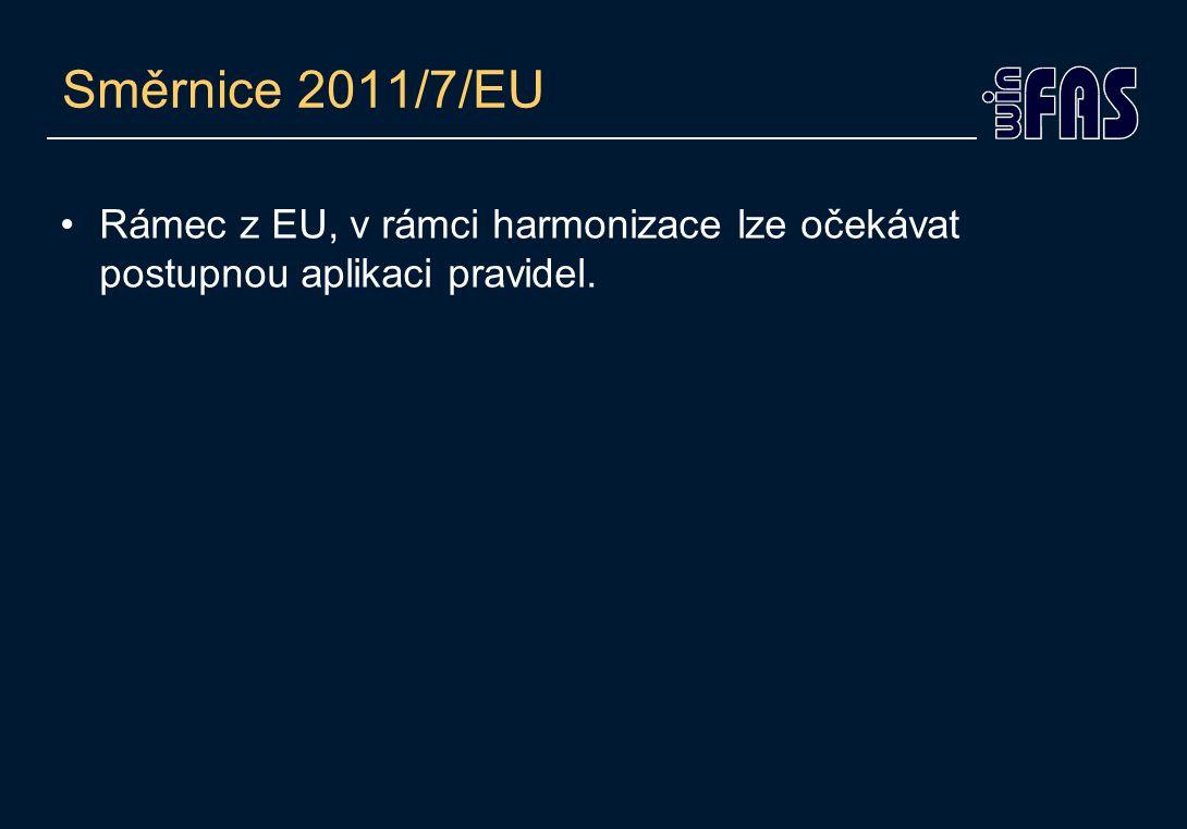 Směrnice 2011/7/EU •Rámec z EU, v rámci harmonizace lze očekávat postupnou aplikaci pravidel.
