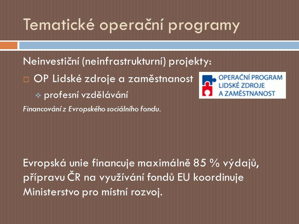 Regionální operační programy Přidělená částka: 4,7 mld.