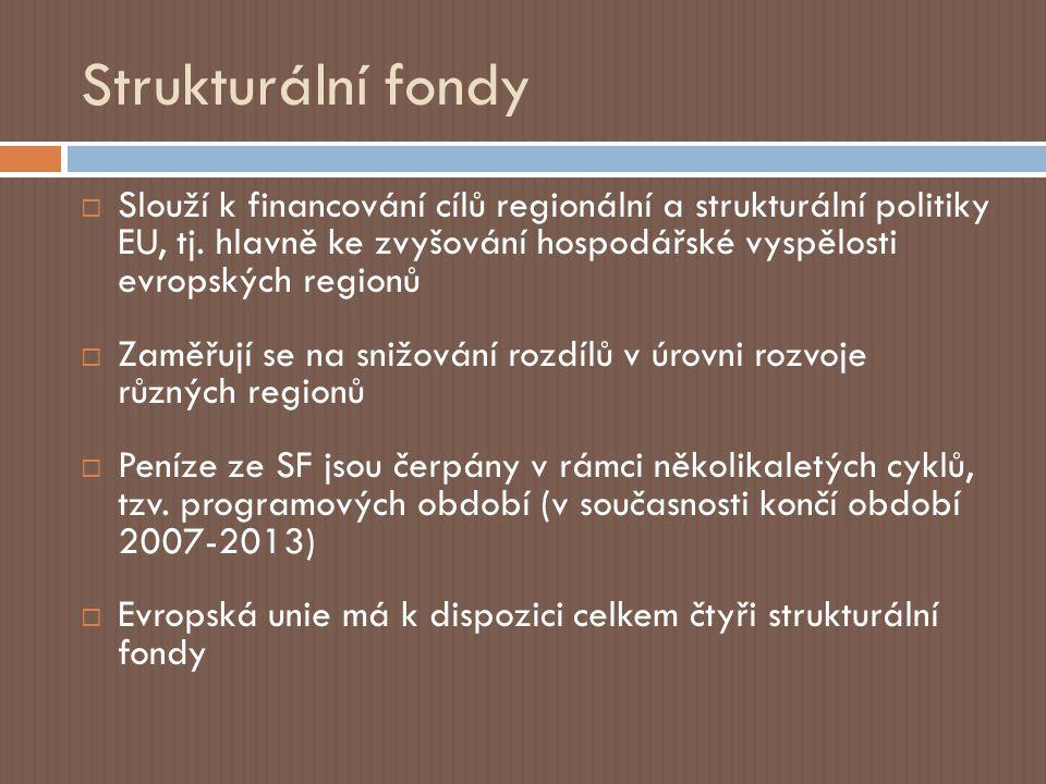 Strukturální fondy  Evropský fond pro regionální rozvoj (European Regional Development Fund)  Evropský sociální fond (European Social Fund) ______________________________________________  Evropský zemědělský podpůrný a záruční fond (European Agricultural Guidance and Guarantee Fund)  Finanční nástroj pro podporu rybolovu (Financial Instrument for Fisheries Guidance)