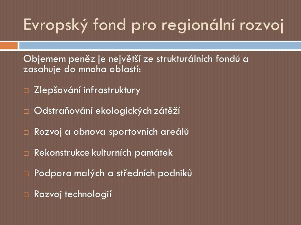 Evropský fond pro regionální rozvoj Objemem peněz je největší ze strukturálních fondů a zasahuje do mnoha oblastí:  Zlepšování infrastruktury  Odstraňování ekologických zátěží  Rozvoj a obnova sportovních areálů  Rekonstrukce kulturních památek  Podpora malých a středních podniků  Rozvoj technologií