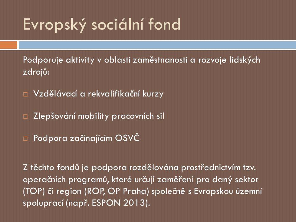 Evropský sociální fond Podporuje aktivity v oblasti zaměstnanosti a rozvoje lidských zdrojů:  Vzdělávací a rekvalifikační kurzy  Zlepšování mobility pracovních sil  Podpora začínajícím OSVČ Z těchto fondů je podpora rozdělována prostřednictvím tzv.