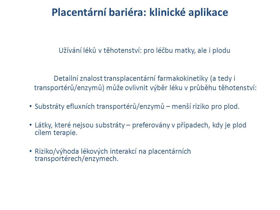 Placentární bariéra: klinické aplikace Užívání léků v těhotenství: pro léčbu matky, ale i plodu Detailní znalost transplacentární farmakokinetiky (a t