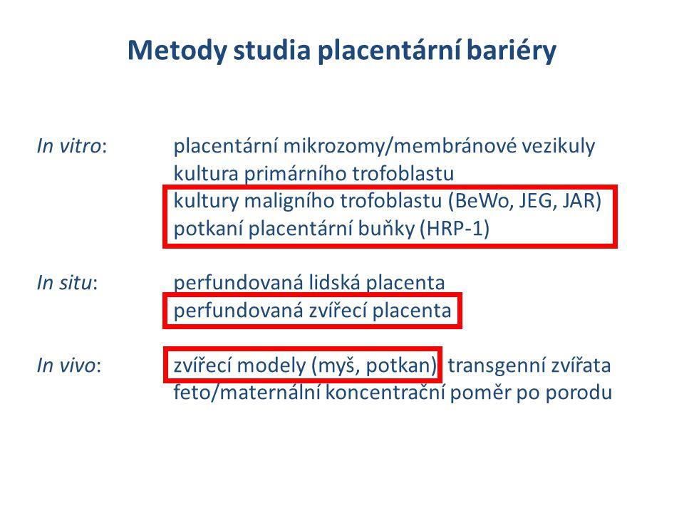 Metody studia placentární bariéry In vitro: placentární mikrozomy/membránové vezikuly kultura primárního trofoblastu kultury maligního trofoblastu (Be