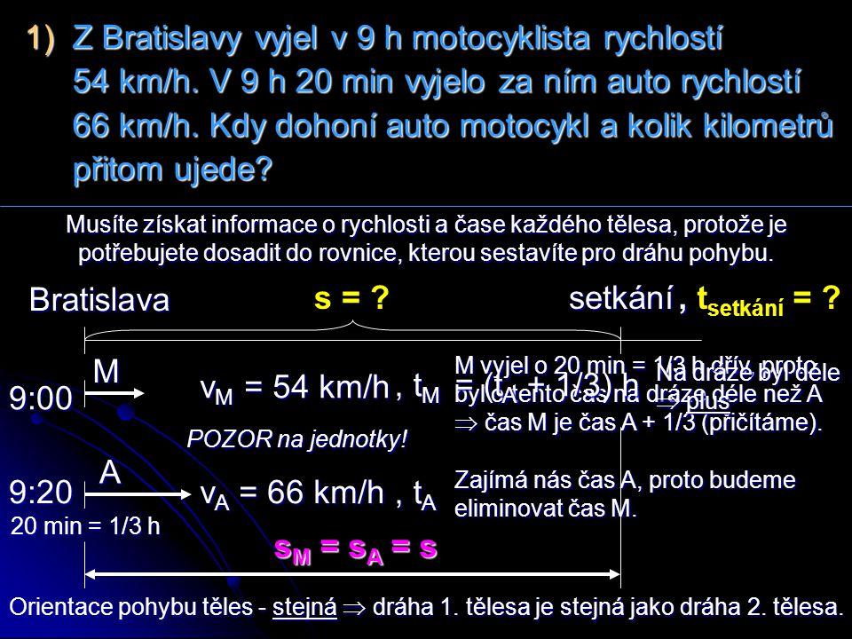 1) Z Bratislavy vyjel v 9 h motocyklista rychlostí 54 km/h. V 9 h 20 min vyjelo za ním auto rychlostí 66 km/h. Kdy dohoní auto motocykl a kolik kilome