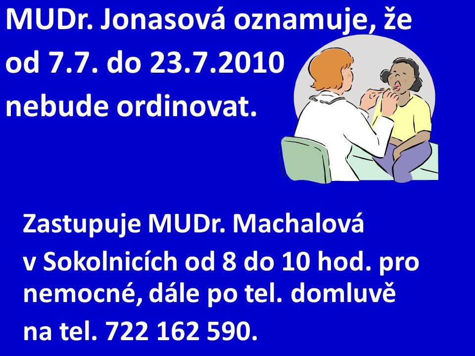 MUDr. Jonasová oznamuje, že od 7.7. do 23.7.2010 nebude ordinovat. Zastupuje MUDr. Machalová v Sokolnicích od 8 do 10 hod. pro nemocné, dále po tel. d
