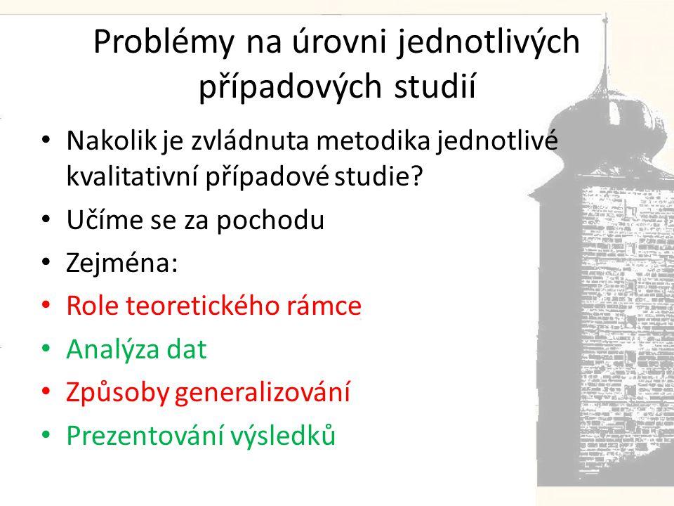 Problémy na úrovni jednotlivých případových studií • Nakolik je zvládnuta metodika jednotlivé kvalitativní případové studie.