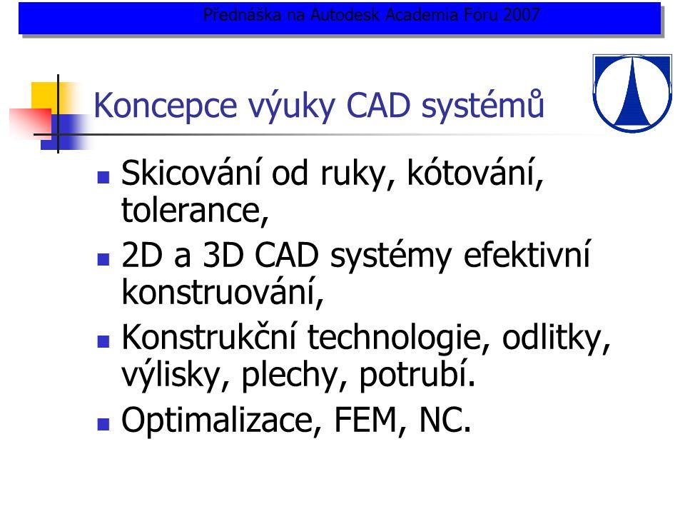 Koncepce výuky CAD systémů  Skicování od ruky, kótování, tolerance,  2D a 3D CAD systémy efektivní konstruování,  Konstrukční technologie, odlitky, výlisky, plechy, potrubí.