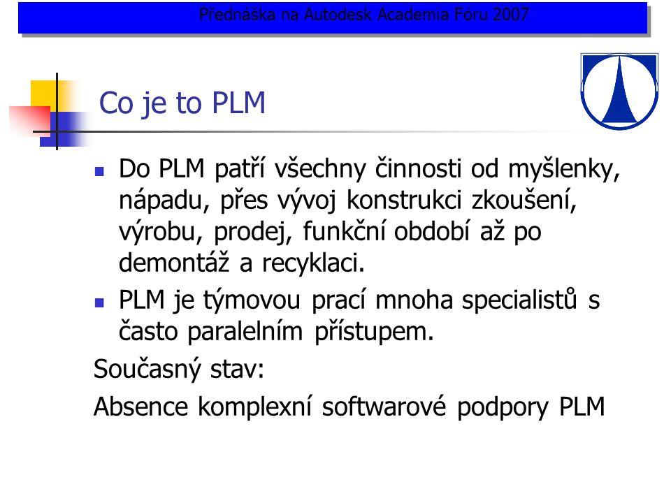 Co je to PLM  Do PLM patří všechny činnosti od myšlenky, nápadu, přes vývoj konstrukci zkoušení, výrobu, prodej, funkční období až po demontáž a recyklaci.