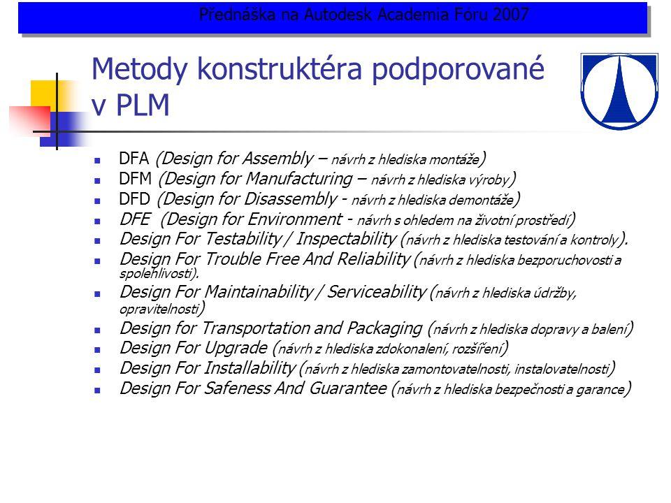 Metody konstruktéra podporované v PLM  DFA (Design for Assembly – návrh z hlediska montáže )  DFM (Design for Manufacturing – návrh z hlediska výroby )  DFD (Design for Disassembly - návrh z hlediska demontáže )  DFE (Design for Environment - návrh s ohledem na životní prostředí )  Design For Testability / Inspectability ( návrh z hlediska testování a kontroly ).