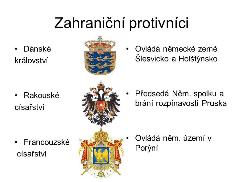 Zahraniční protivníci •Dánské království •Rakouské císařství •Francouzské císařství •Ovládá německé země Šlesvicko a Holštýnsko •Předsedá Něm.