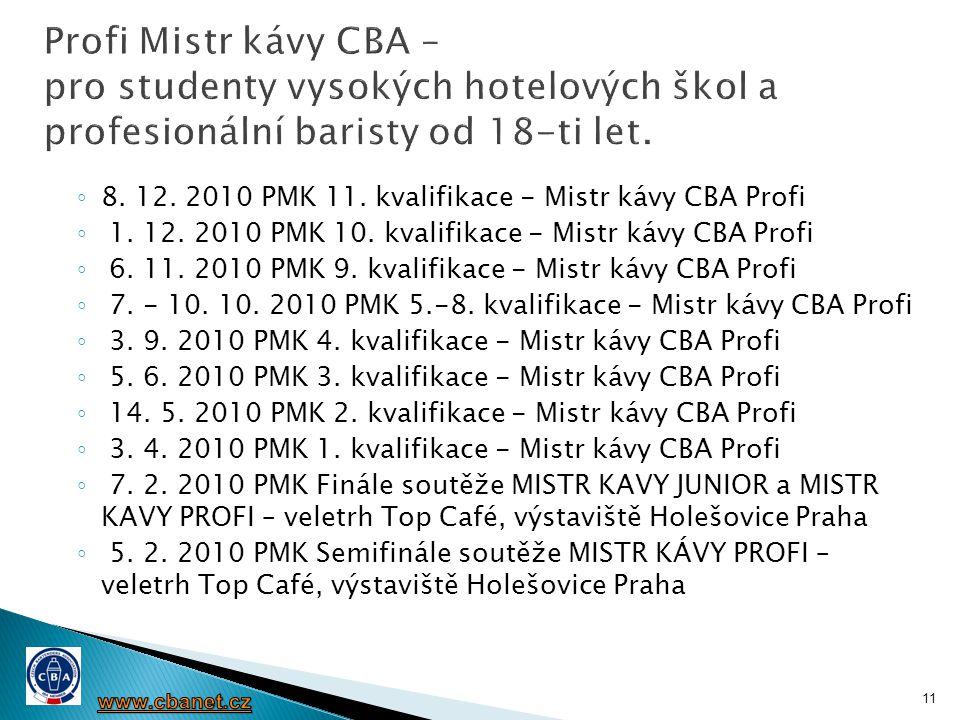◦ 8. 12. 2010 PMK 11. kvalifikace - Mistr kávy CBA Profi ◦ 1. 12. 2010 PMK 10. kvalifikace - Mistr kávy CBA Profi ◦ 6. 11. 2010 PMK 9. kvalifikace - M