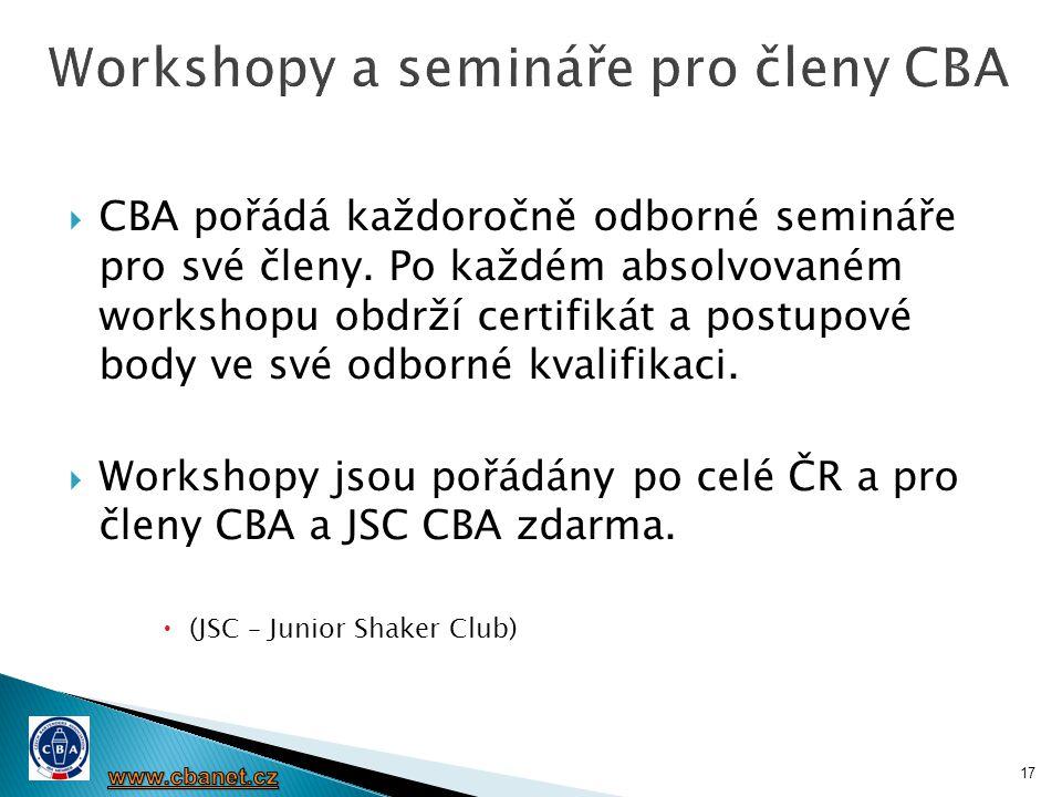  CBA pořádá každoročně odborné semináře pro své členy. Po každém absolvovaném workshopu obdrží certifikát a postupové body ve své odborné kvalifikaci