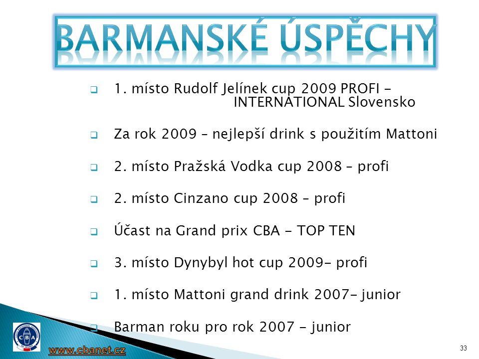 33  1. místo Rudolf Jelínek cup 2009 PROFI - INTERNATIONAL Slovensko  Za rok 2009 – nejlepší drink s použitím Mattoni  2. místo Pražská Vodka cup 2