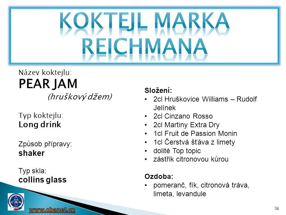 34 Název koktejlu: PEAR JAM (hruškový džem) Typ koktejlu: Long drink Způsob přípravy: shaker Typ skla: collins glass Složení: •2cl Hruškovice Williams