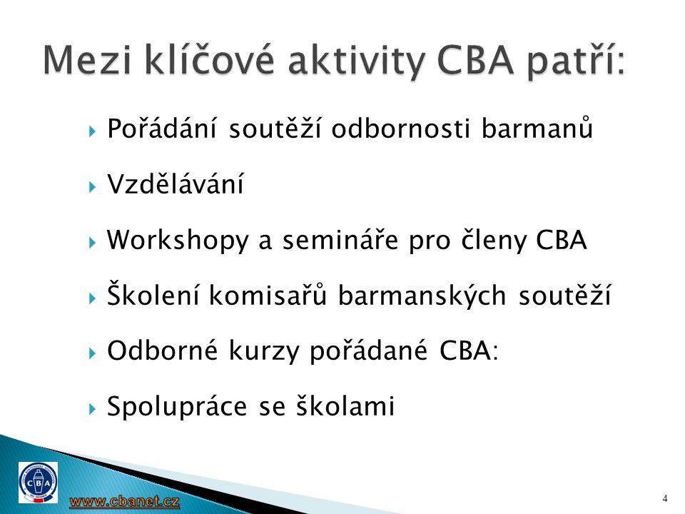 Benefity organizační a technické:  propozice barmanské soutěže, jejich umístění na web CBA  ON-LINE registraci přihlášek soutěžících s recepturou pro soutěž.