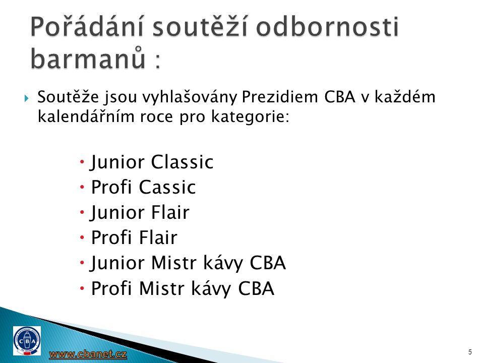  Soutěže jsou vyhlašovány Prezidiem CBA v každém kalendářním roce pro kategorie:  Junior Classic  Profi Cassic  Junior Flair  Profi Flair  Junio