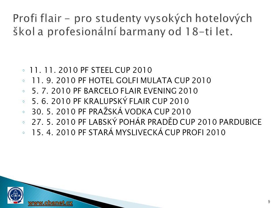 ◦ 11. 11. 2010 PF STEEL CUP 2010 ◦ 11. 9. 2010 PF HOTEL GOLFI MULATA CUP 2010 ◦ 5. 7. 2010 PF BARCELO FLAIR EVENING 2010 ◦ 5. 6. 2010 PF KRALUPSKÝ FLA