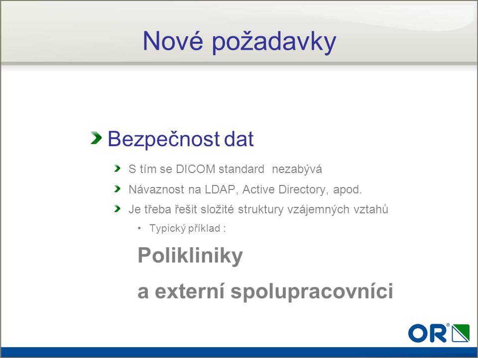 Nové požadavky Bezpečnost dat S tím se DICOM standard nezabývá Návaznost na LDAP, Active Directory, apod. Je třeba řešit složité struktury vzájemných
