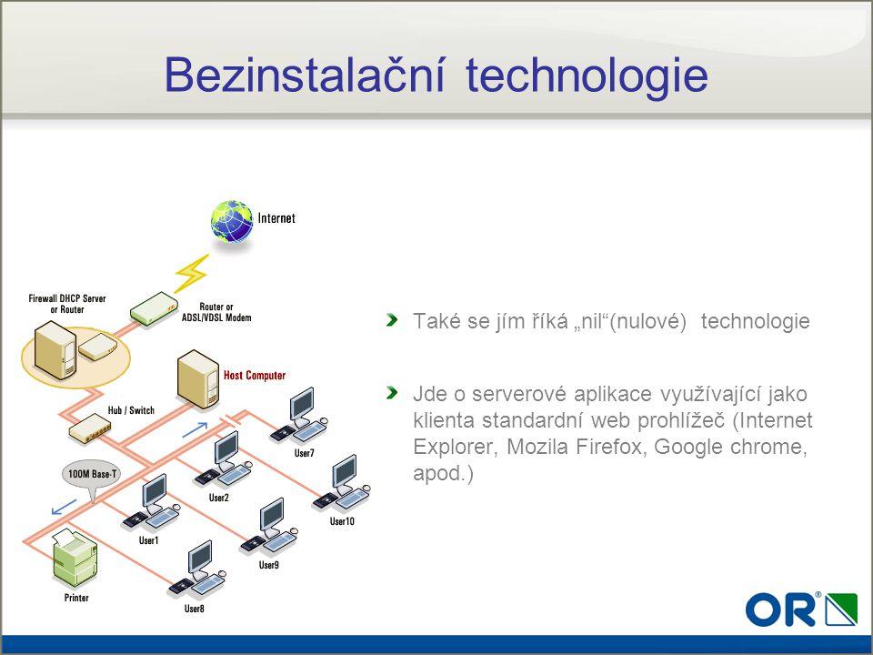 """Bezinstalační technologie Také se jím říká """"nil""""(nulové) technologie Jde o serverové aplikace využívající jako klienta standardní web prohlížeč (Inter"""