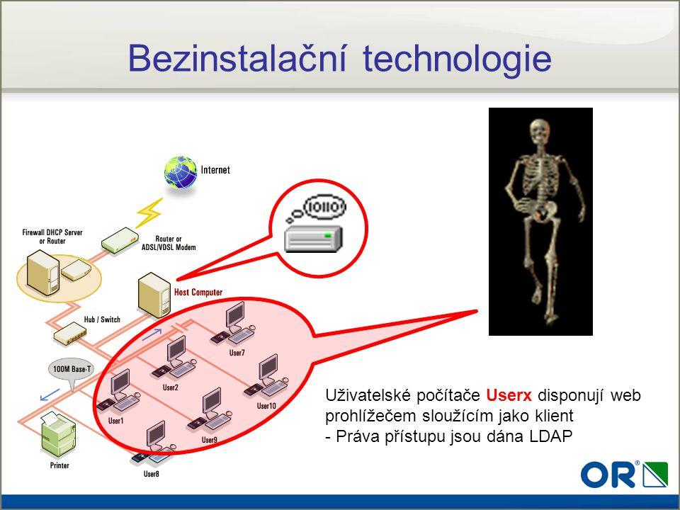 Uživatelské počítače Userx disponují web prohlížečem sloužícím jako klient - Práva přístupu jsou dána LDAP Bezinstalační technologie