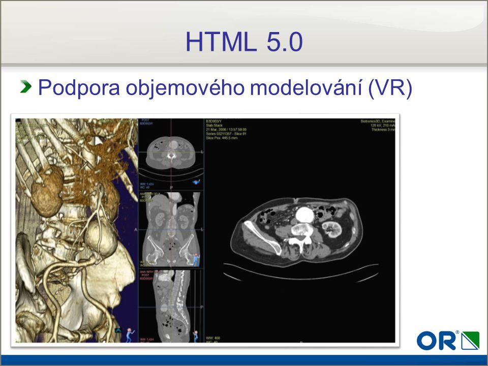 Podpora objemového modelování (VR) HTML 5.0