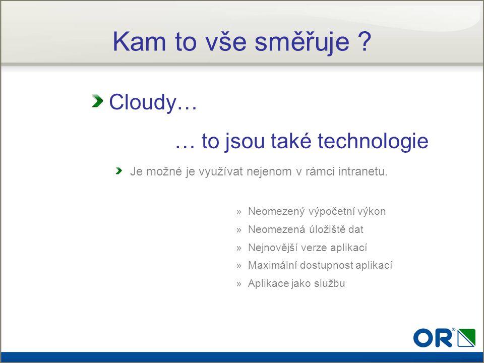 Cloudy… … to jsou také technologie Je možné je využívat nejenom v rámci intranetu. »Neomezený výpočetní výkon »Neomezená úložiště dat »Nejnovější verz