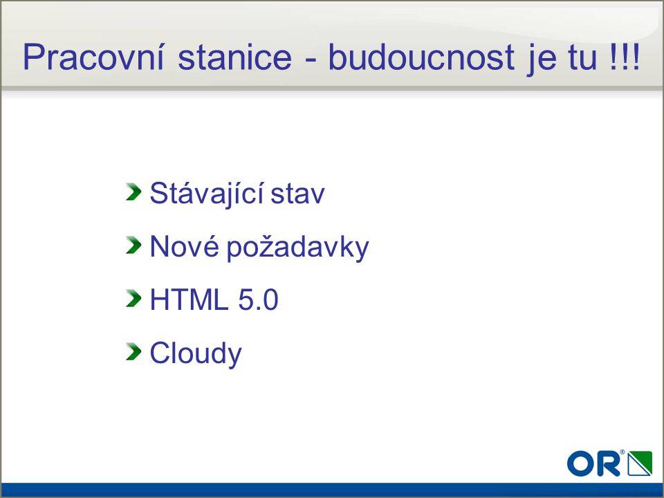 Stávající stav Nové požadavky HTML 5.0 Cloudy Pracovní stanice - budoucnost je tu !!!