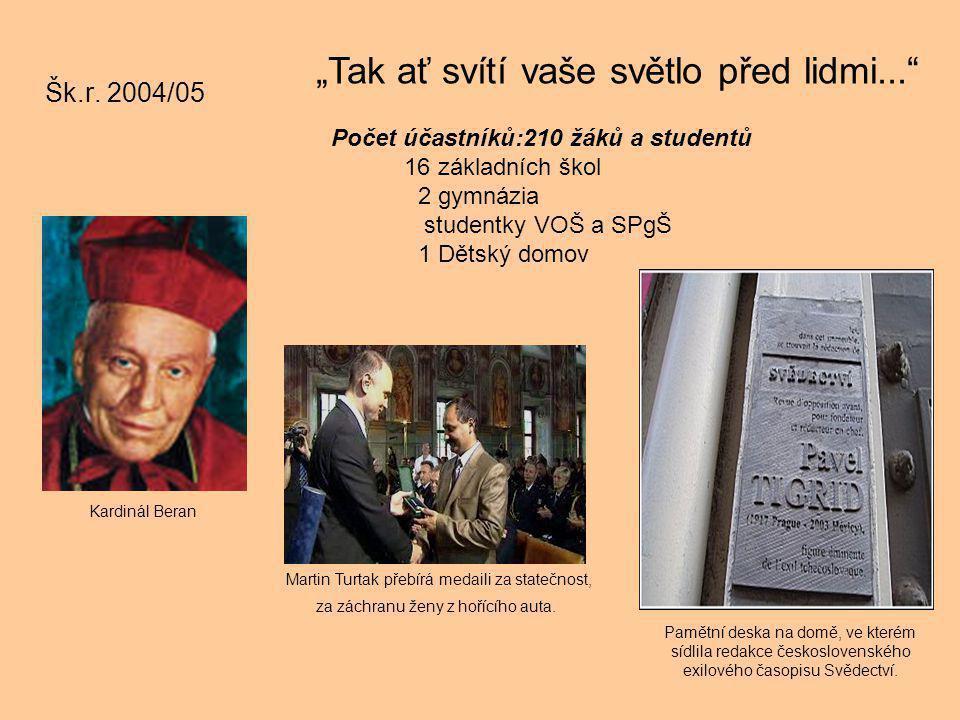 """Šk.r. 2004/05 """"Tak ať svítí vaše světlo před lidmi..."""" Pamětní deska na domě, ve kterém sídlila redakce československého exilového časopisu Svědectví."""