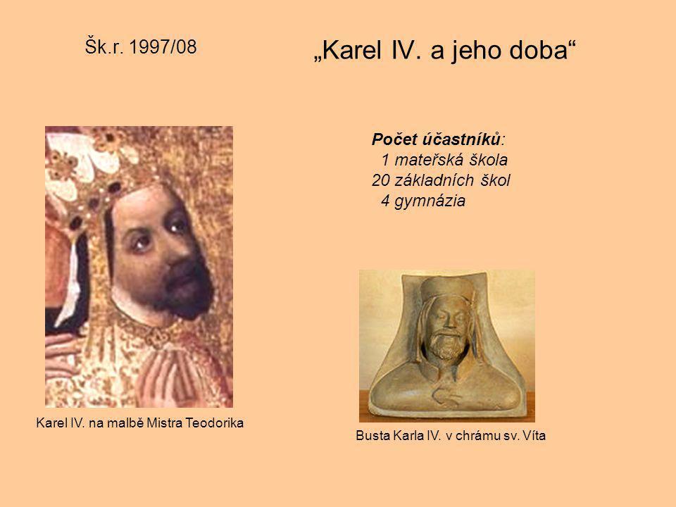 """Šk.r. 1997/08 """"Karel IV. a jeho doba"""" Busta Karla IV. v chrámu sv. Víta Karel IV. na malbě Mistra Teodorika Počet účastníků: 1 mateřská škola 20 zákla"""