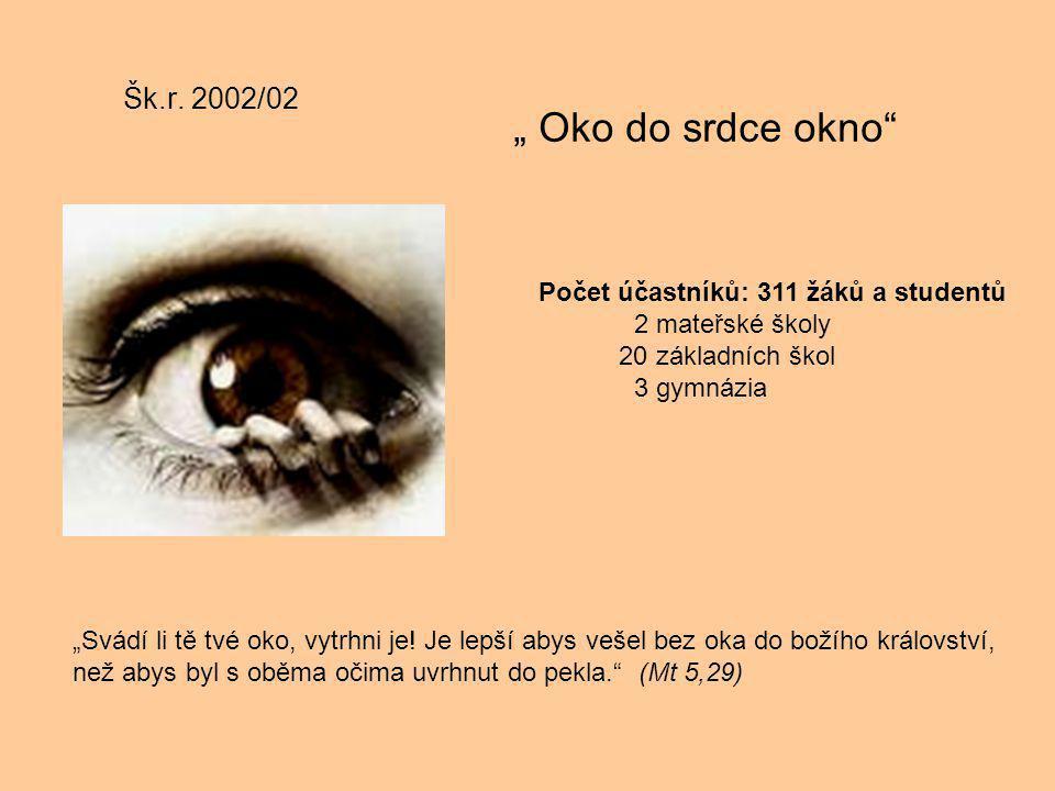 """Šk.r. 2002/02 """" Oko do srdce okno"""" """"Svádí li tě tvé oko, vytrhni je! Je lepší abys vešel bez oka do božího království, než abys byl s oběma očima uvrh"""