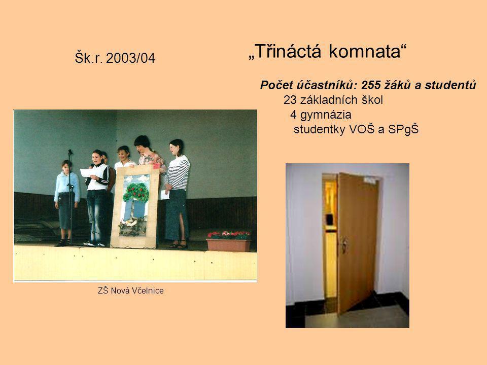 """Šk.r. 2003/04 """"Třináctá komnata"""" Počet účastníků: 255 žáků a studentů 23 základních škol 4 gymnázia studentky VOŠ a SPgŠ ZŠ Nová Včelnice"""