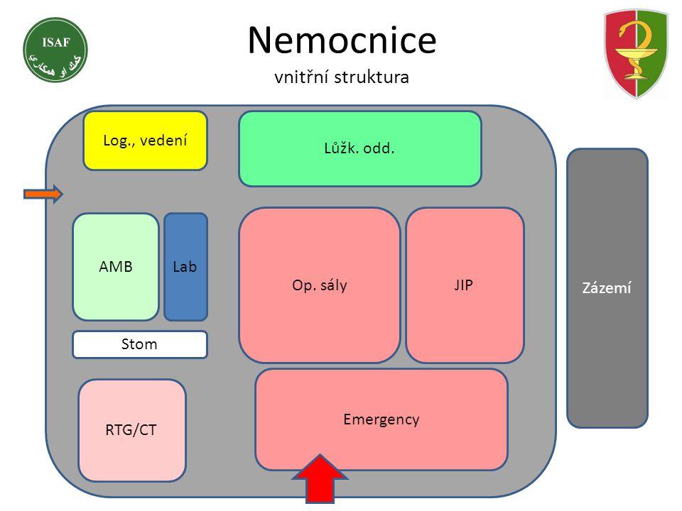 Nemocnice vnitřní struktura Zázemí Emergency RTG/CT Op. sályJIP Lůžk. odd. AMBLab Stom Log., vedení