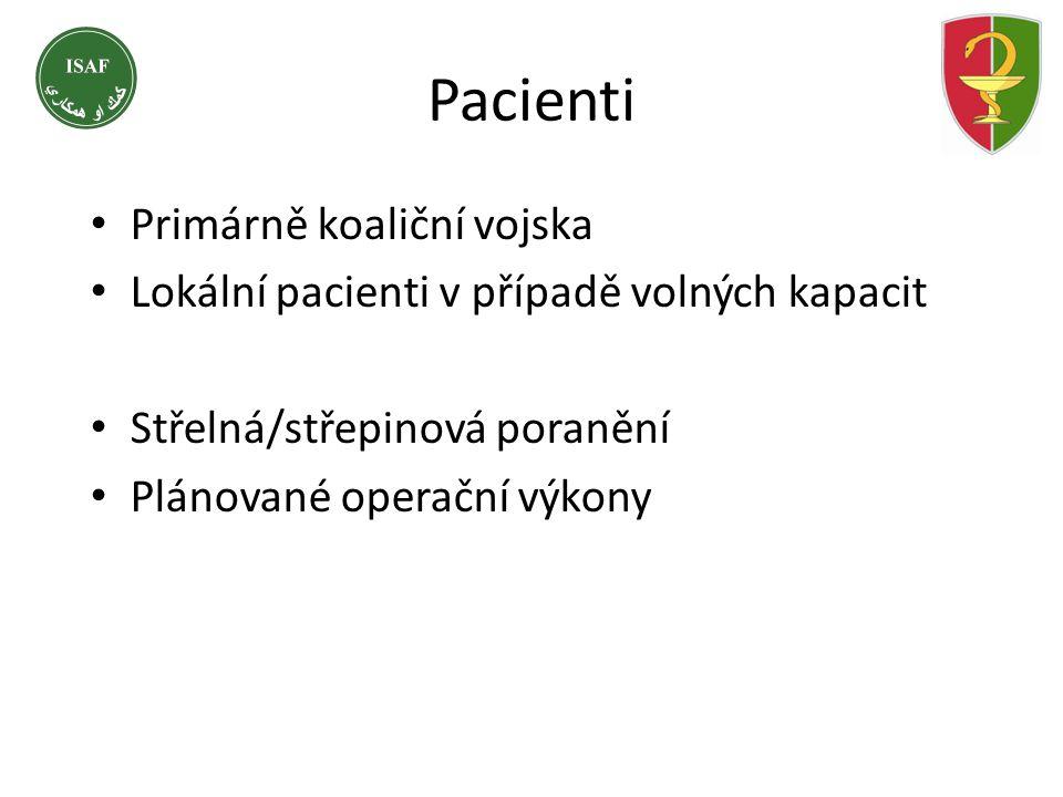 Pacienti • Primárně koaliční vojska • Lokální pacienti v případě volných kapacit • Střelná/střepinová poranění • Plánované operační výkony