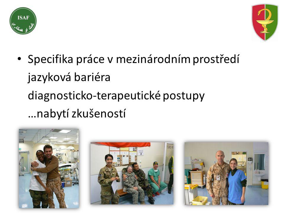 • Specifika práce v mezinárodním prostředí jazyková bariéra diagnosticko-terapeutické postupy …nabytí zkušeností