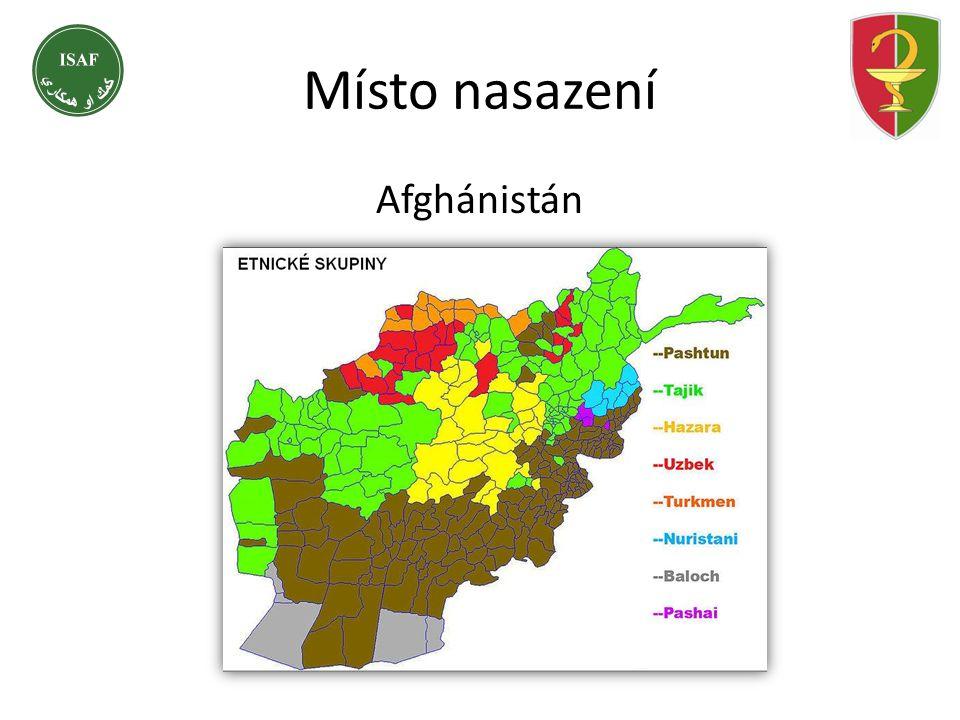 Afghánistán Místo nasazení