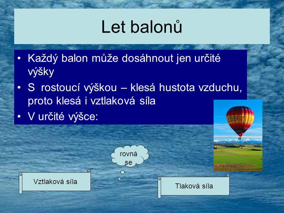 Let balonů •K•Každý balon může dosáhnout jen určité výšky •S•S rostoucí výškou – klesá hustota vzduchu, proto klesá i vztlaková síla •V•V určité výšce: Vztlaková síla Tlaková síla rovná se