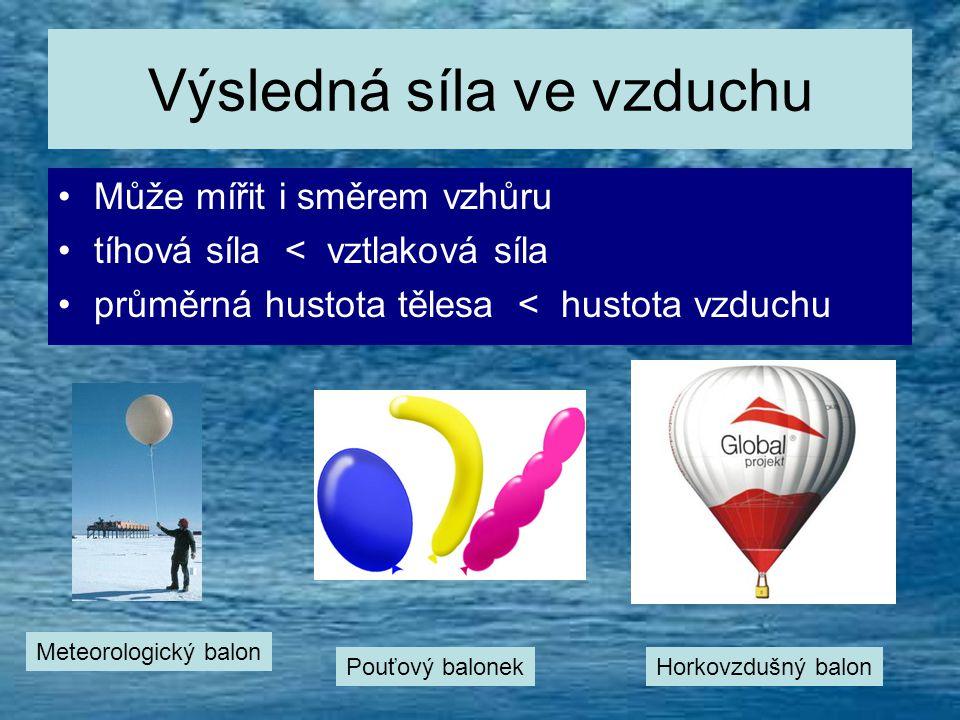 Výsledná síla ve vzduchu •M•Může mířit i směrem vzhůru •t•tíhová síla < vztlaková síla •p•průměrná hustota tělesa < hustota vzduchu Meteorologický balon Pouťový balonekHorkovzdušný balon