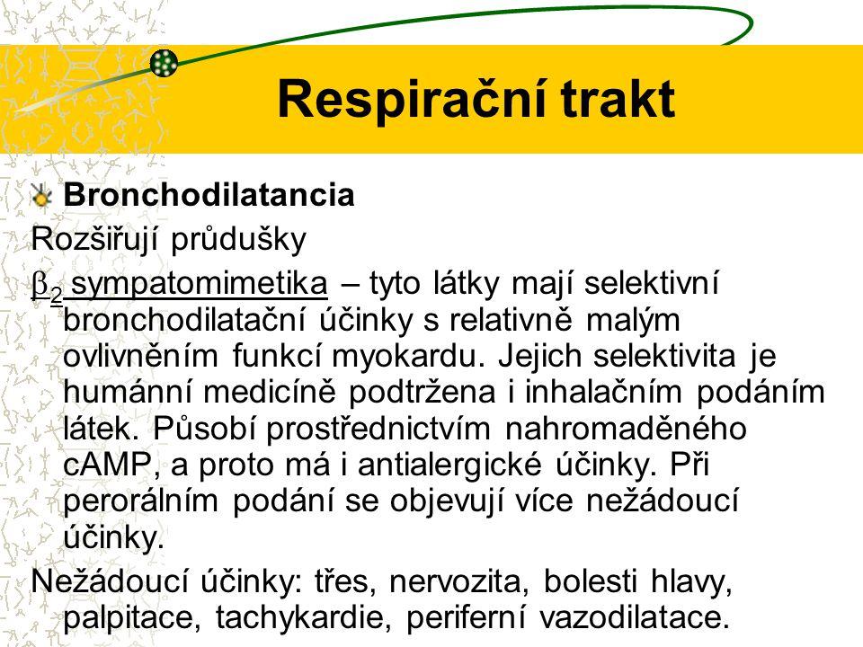 Respirační trakt Bronchodilatancia Rozšiřují průdušky  2 sympatomimetika – tyto látky mají selektivní bronchodilatační účinky s relativně malým ovliv