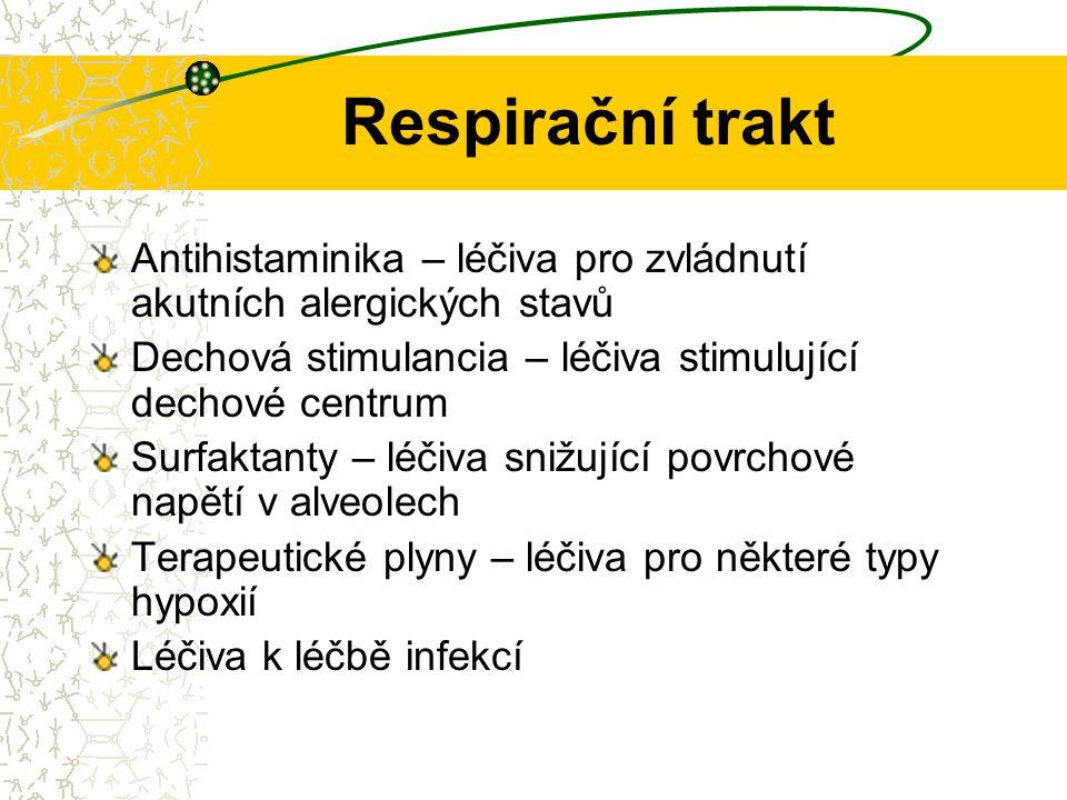 Respirační trakt Antihistaminika – léčiva pro zvládnutí akutních alergických stavů Dechová stimulancia – léčiva stimulující dechové centrum Surfaktant