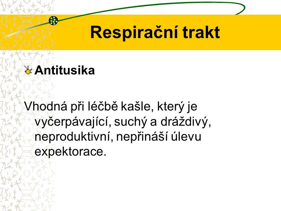 Respirační trakt 1) antitusika kodeinového typu Využívá se kodein a jeho deriváty, popř.