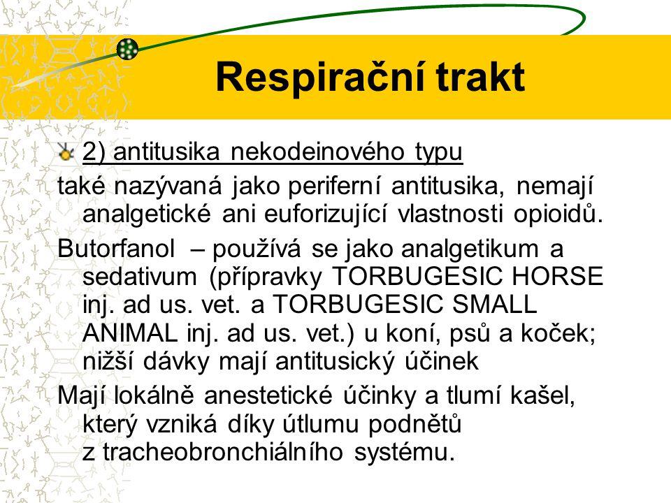 Respirační trakt Butamirát, dropropizin, pentoxyverin, prenoxdiazin, klobutinol (jen v parenterální podání) Dextrometorfan – využití u malých zvířat, s minimální sedací, bezpečné využití u koček.