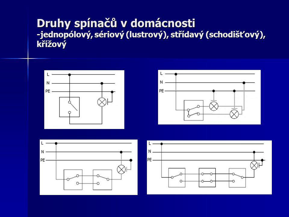 Druhy spínačů v domácnosti -jednopólový, sériový (lustrový), střídavý (schodišťový), křížový
