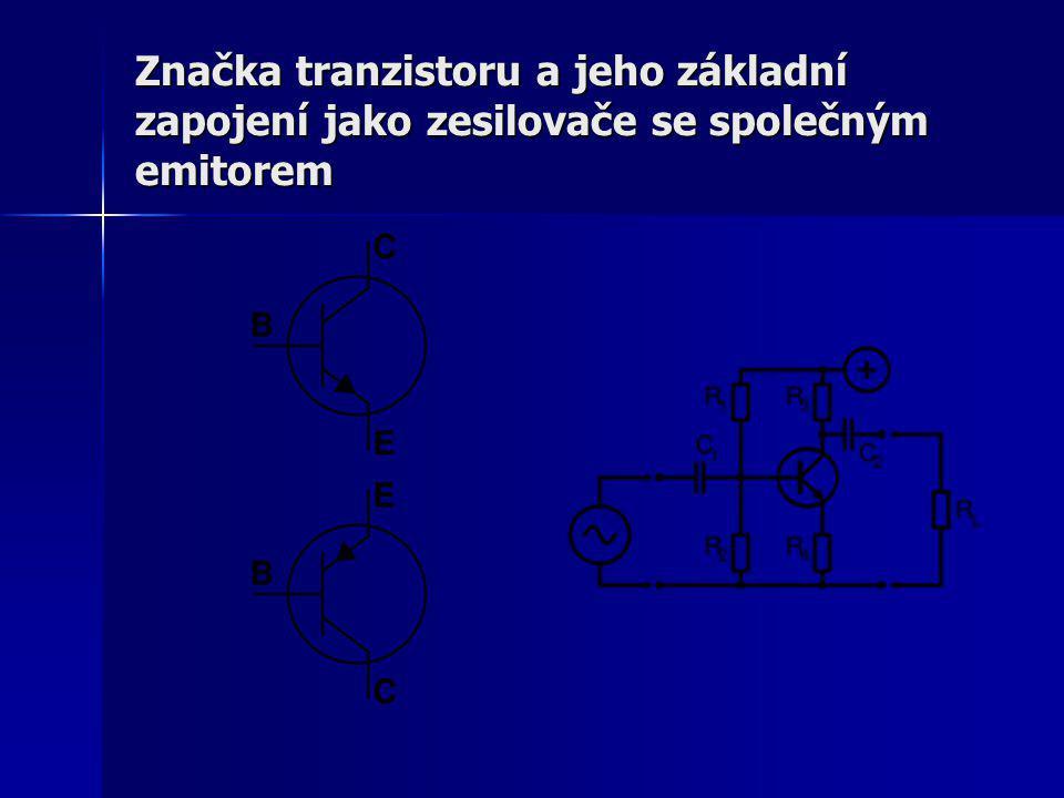 Značka tranzistoru a jeho základní zapojení jako zesilovače se společným emitorem