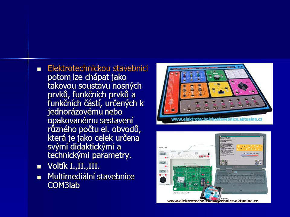  Elektrotechnickou stavebnici potom lze chápat jako takovou soustavu nosných prvků, funkčních prvků a funkčních částí, určených k jednorázovému nebo