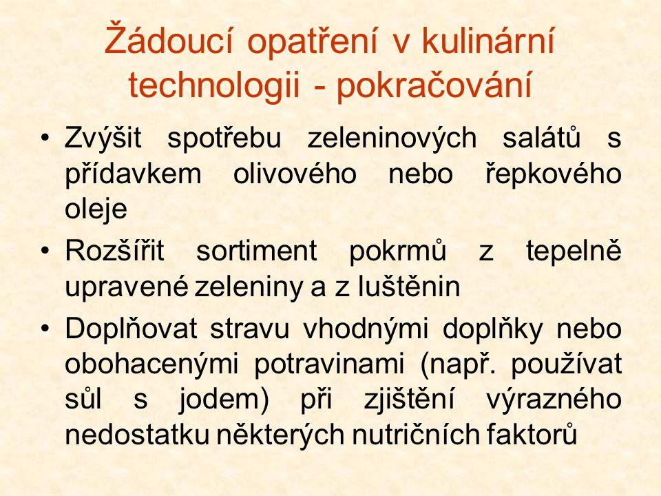 Žádoucí opatření v kulinární technologii - pokračování •Zvýšit spotřebu zeleninových salátů s přídavkem olivového nebo řepkového oleje •Rozšířit sorti