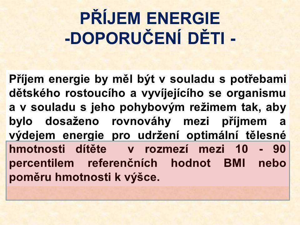 PŘÍJEM ENERGIE -DOPORUČENÍ DĚTI - Příjem energie by měl být v souladu s potřebami dětského rostoucího a vyvíjejícího se organismu a v souladu s jeho p