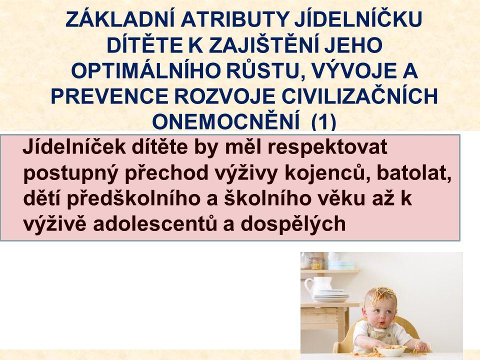 ZÁKLADNÍ ATRIBUTY JÍDELNÍČKU DÍTĚTE K ZAJIŠTĚNÍ JEHO OPTIMÁLNÍHO RŮSTU, VÝVOJE A PREVENCE ROZVOJE CIVILIZAČNÍCH ONEMOCNĚNÍ (1) Jídelníček dítěte by mě