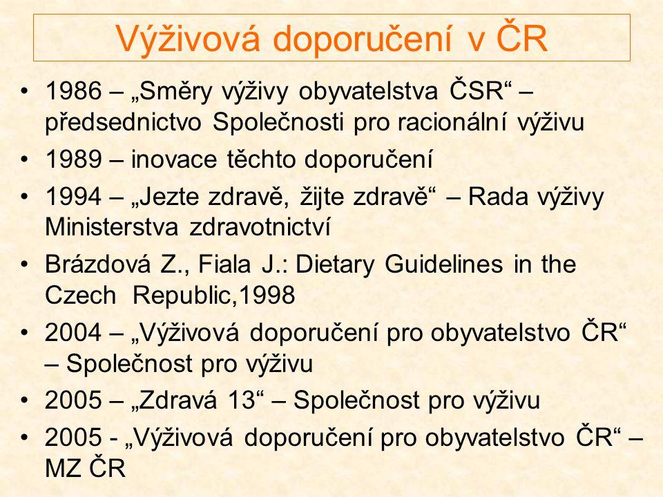 """Výživová doporučení v ČR •1986 – """"Směry výživy obyvatelstva ČSR"""" – předsednictvo Společnosti pro racionální výživu •1989 – inovace těchto doporučení •"""
