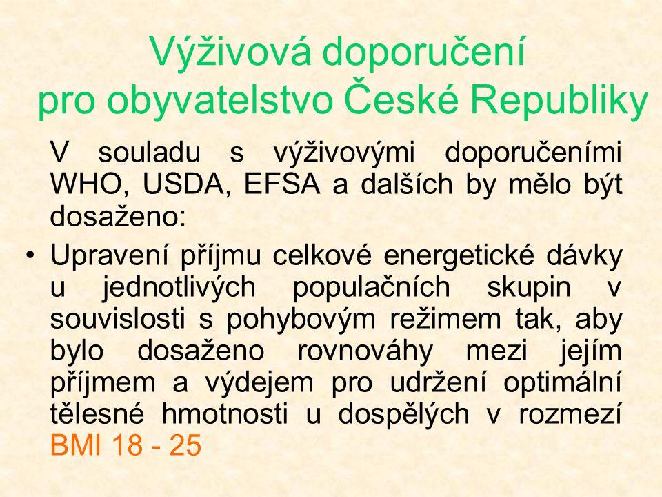 Výživová doporučení pro obyvatelstvo České Republiky V souladu s výživovými doporučeními WHO, USDA, EFSA a dalších by mělo být dosaženo: •Upravení pří
